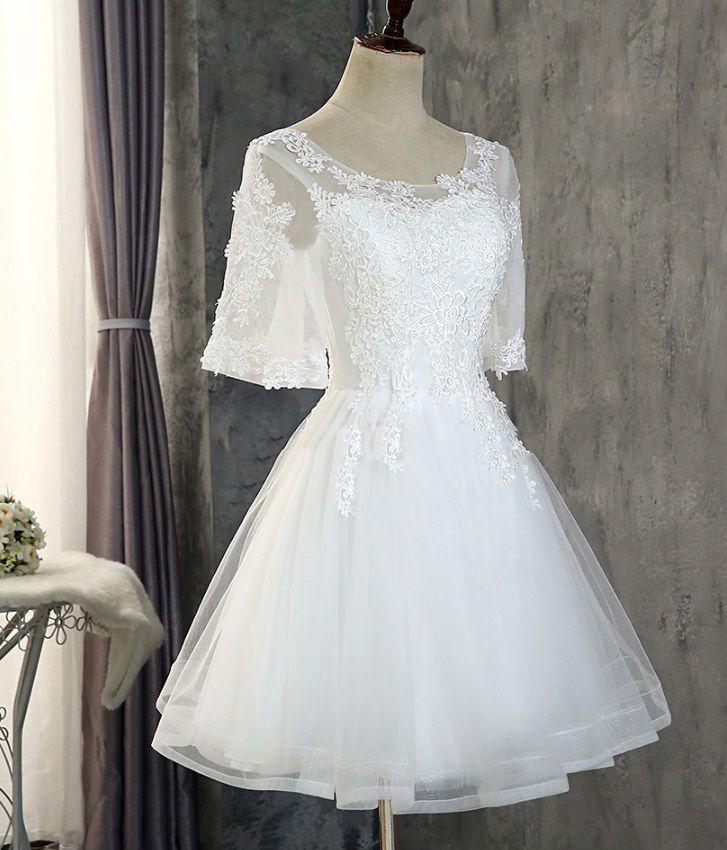 Vestido Curto com Manga Off White