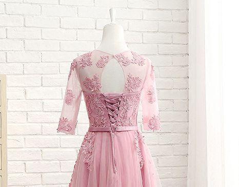 Vestido Curto Rosa Velho Manga