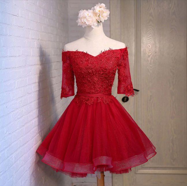 Vestido Curto Vermelho Marsala Manguinha