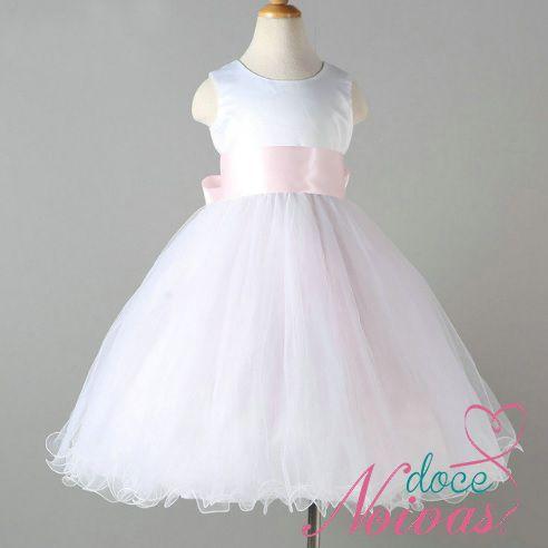Vestido Daminha Laço Rosa