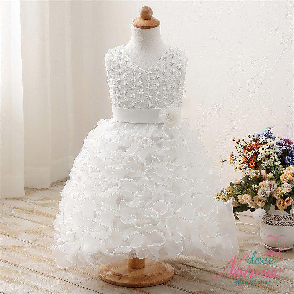 Vestido Daminha Mini Pérolas Off White