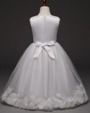 Vestido De Daminha Aia Florista Branco com Pétalas
