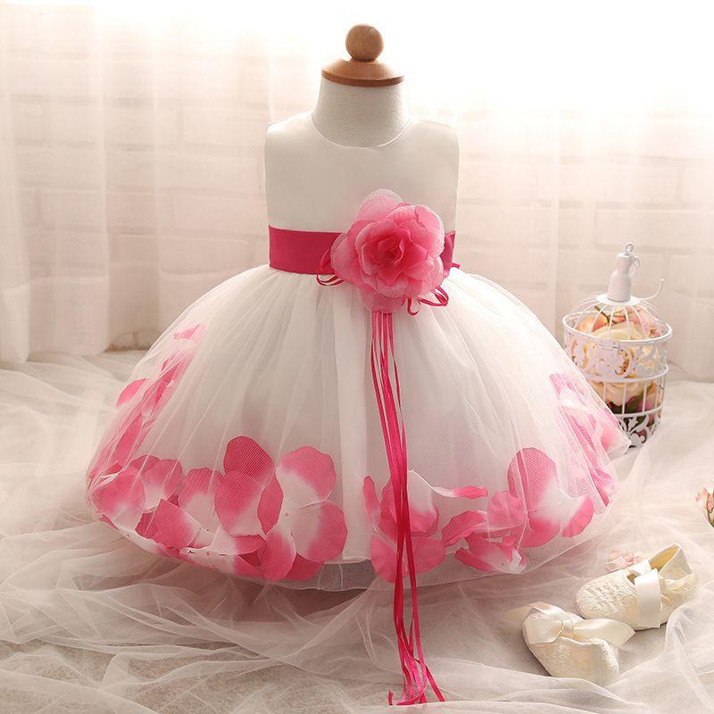 Vestido de Daminha Aia Florista Branco Com Pink Pétalas