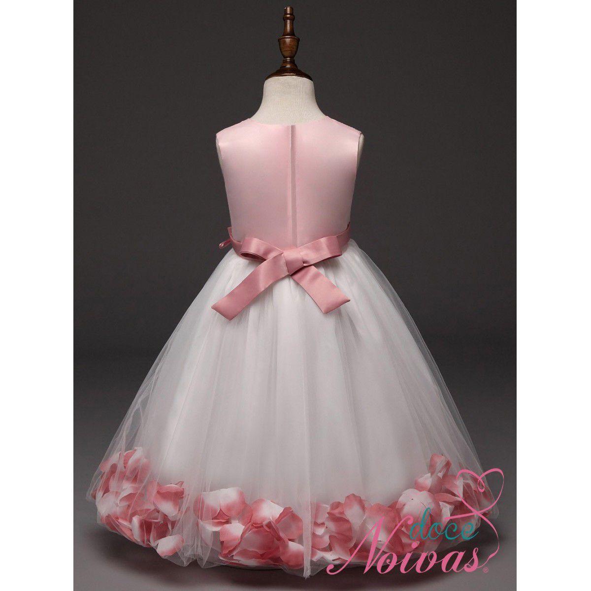 Vestido de Daminha Aia Florista Branco Com Rosa Pétalas