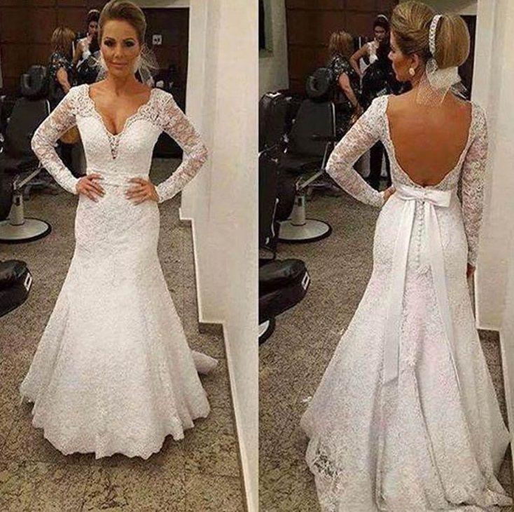 Vestido de Noiva Arizona Manga Longa Rendado