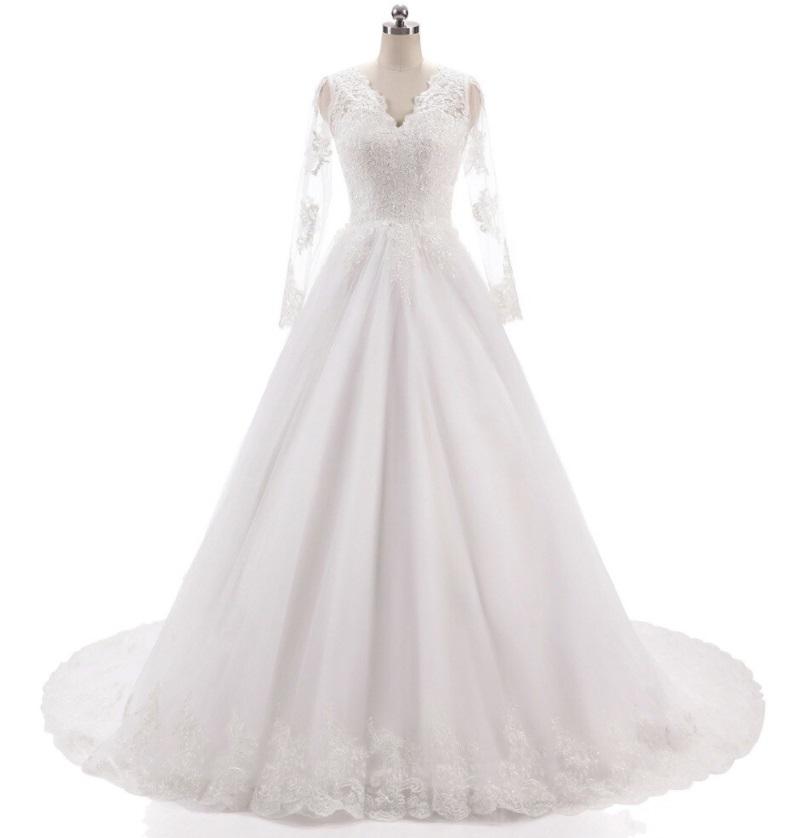 Vestido de Noiva Celeste Manga Longa