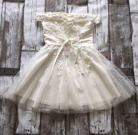 Vestido de Noiva Curto Alças Ombro Off White