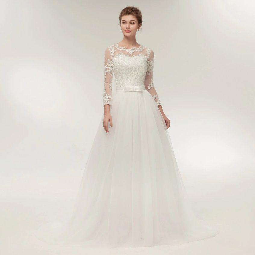 Vestido de Noiva Manga Longa Costas Aberta