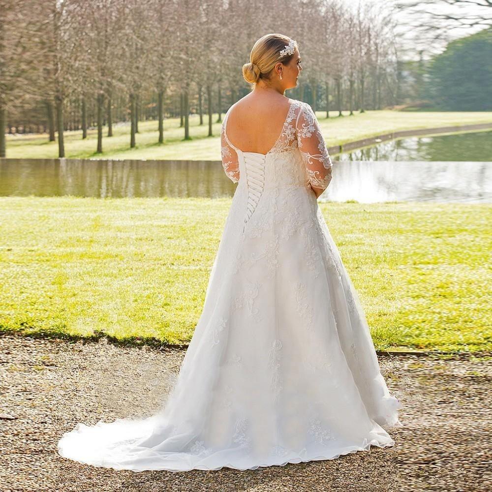Vestido de Noiva Plus Size Cauda Micaela