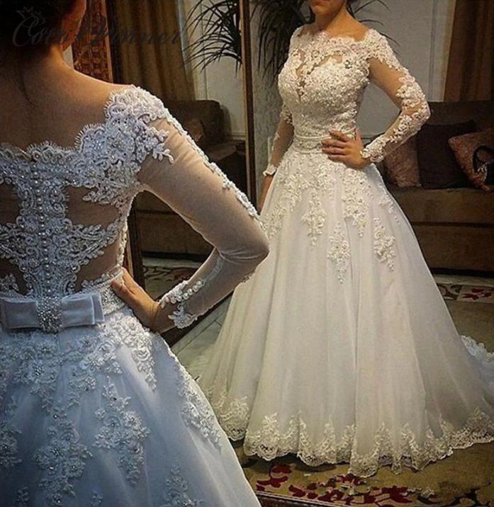 Vestido de Noiva Realeza Manga Longa