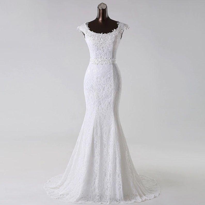 Vestido de Noiva Sereia Alça Anjo