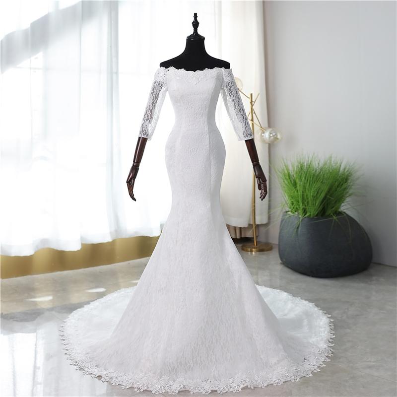 Vestido de Noiva Sereia Rendado Com Manga