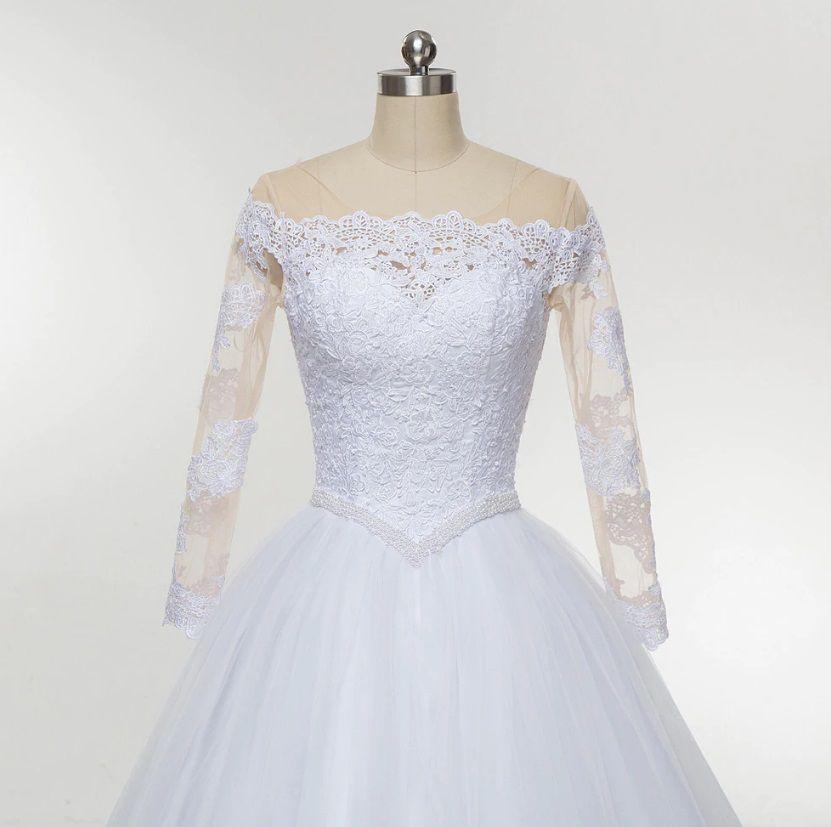 Vestido de Noiva Serenata Ombro a Ombro Manga Longa