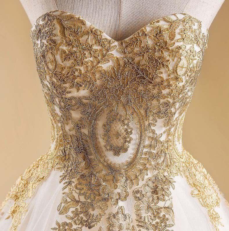 Vestido de Noiva Tomara que Caia Dourado Champanhe