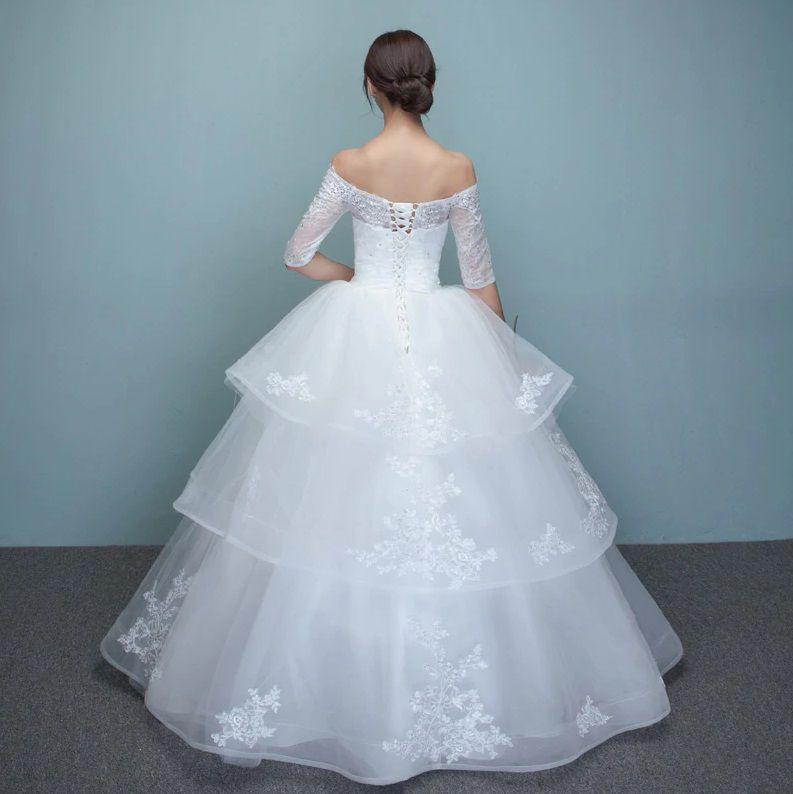 Vestido de Noiva Ocean Manga Ombro Camadas