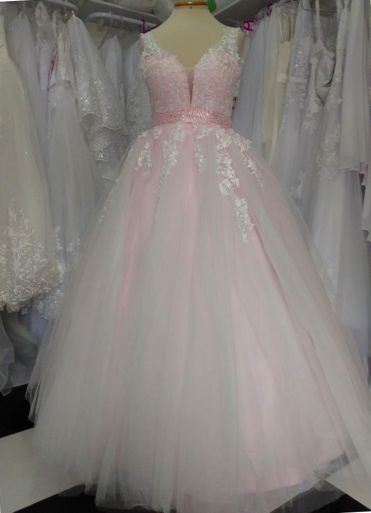 Vestido Debutante Alça Rosa Claro