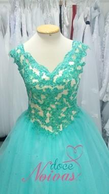 Vestido debutante curto verde agua