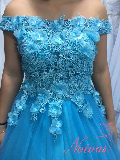 Vestido Debutante Azul e Verde Tiffany Alça Ombro