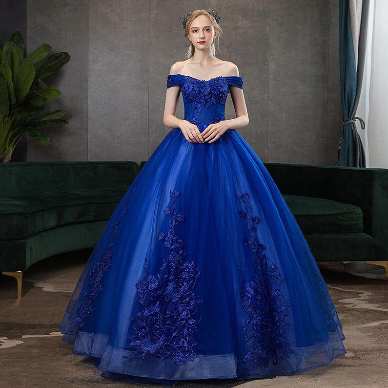 Vestido Debutante Azul Bic Ombro a Ombro