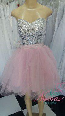 Vestido Debutante Curto Rosa Prateado