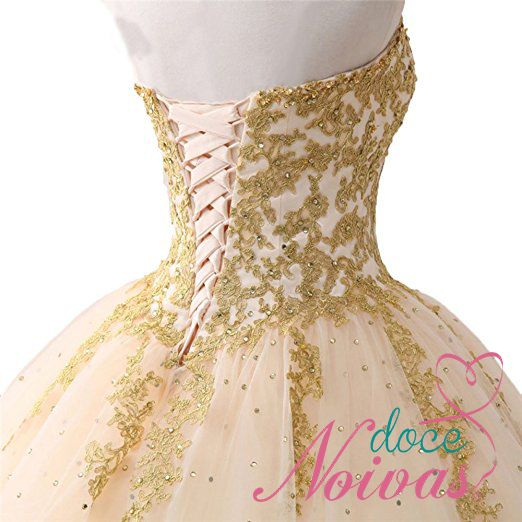 Vestido Debutante Nude Dourado