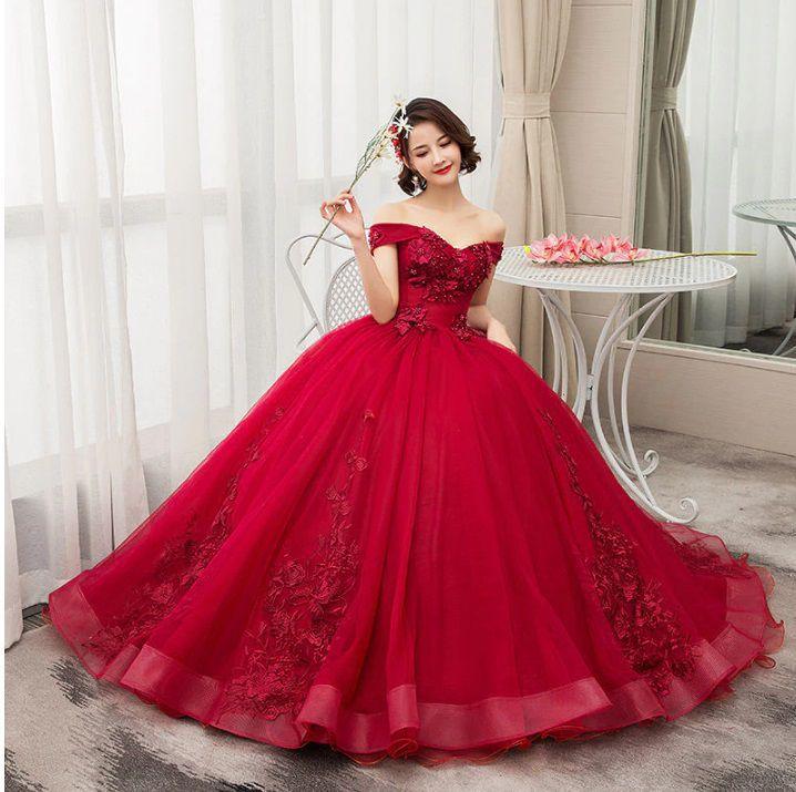 Vestido Debutante  Marsala Alça Ombro