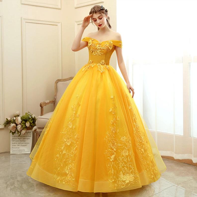 Vestido Debutante Ombro a Ombro Amarelo