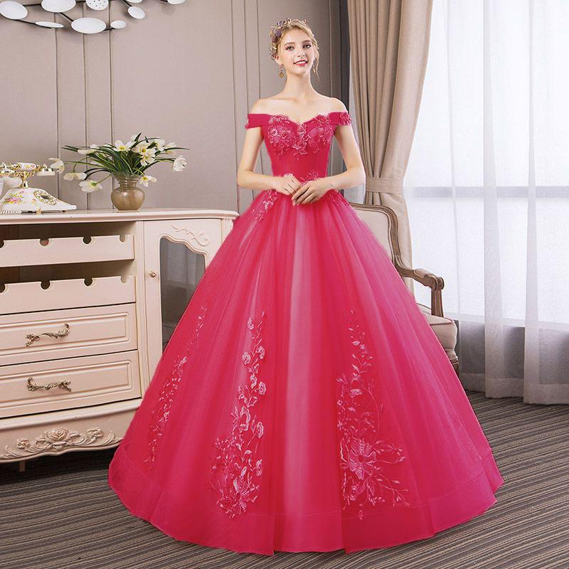 Vestido Debutante Ombro a Ombro Pink