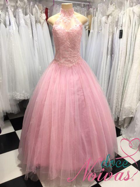 Vestido Debutante Rosa Gola