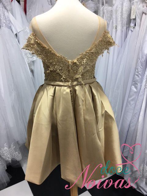 Vestido Dourado Alça Ombro