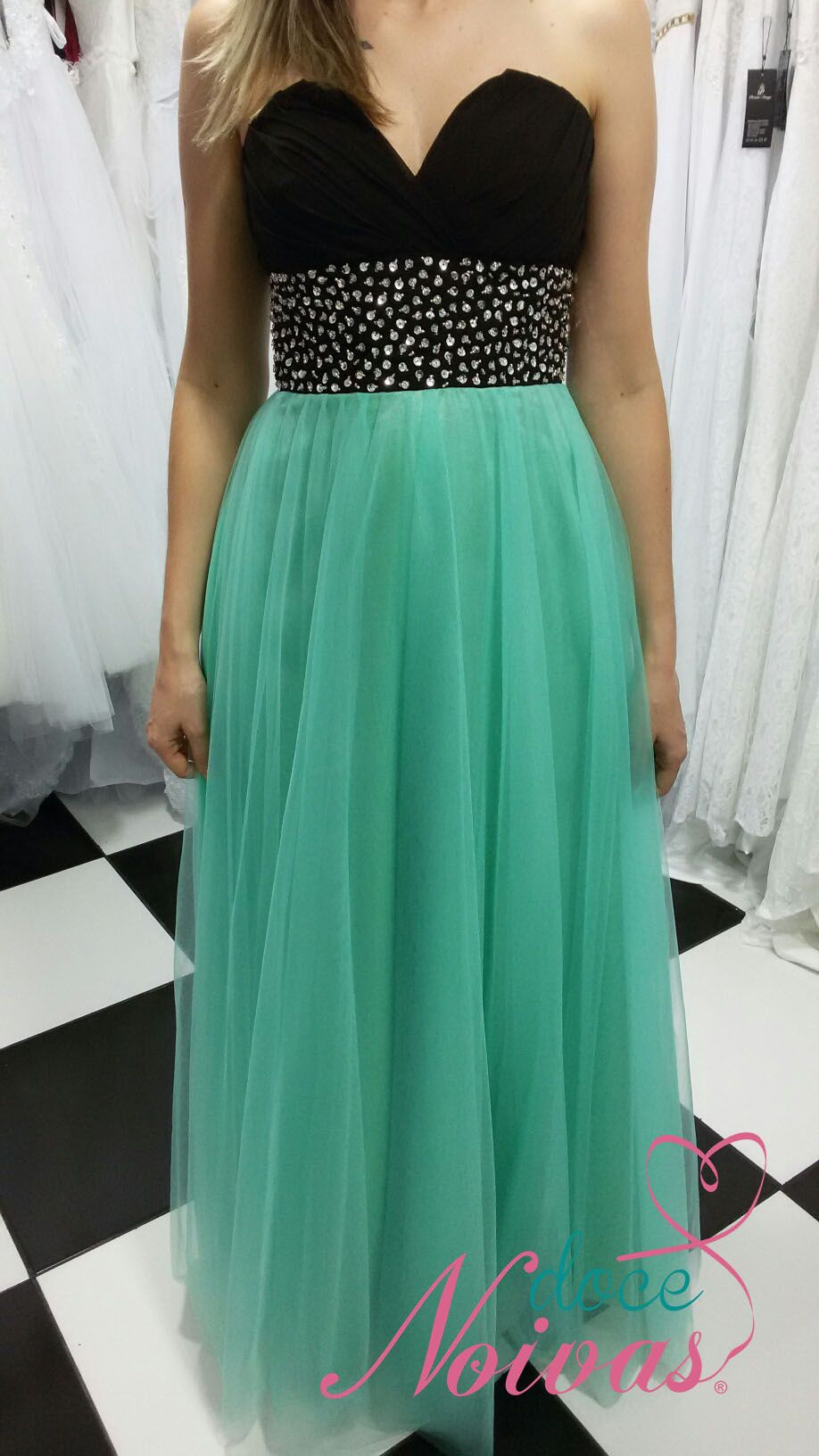 Vestido Festa Verde Tiffany com Preto