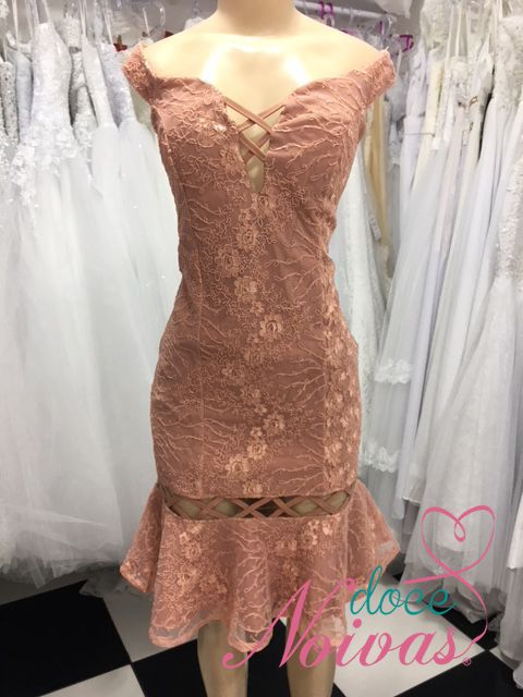 Vestido Justo Alça Ombro Rose Gold Terracota