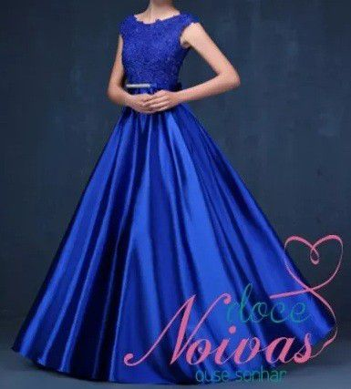 Vestido Longo Azul Bic Cetim
