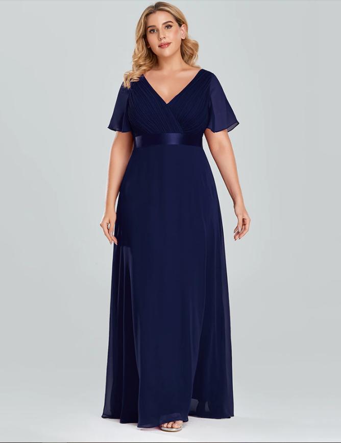 Vestido Longo Azul Escuro Plus Size