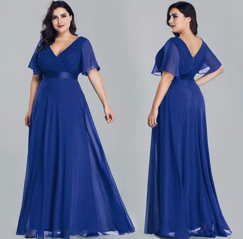 Vestido Longo Azul Escurol Plus Size