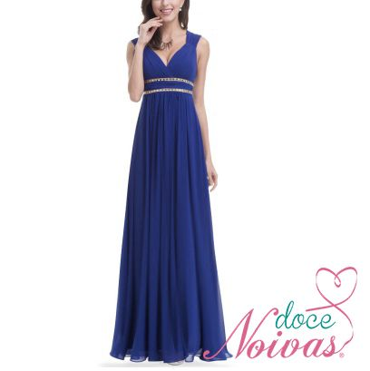 Vestido Longo Azul Royal e Pêssego