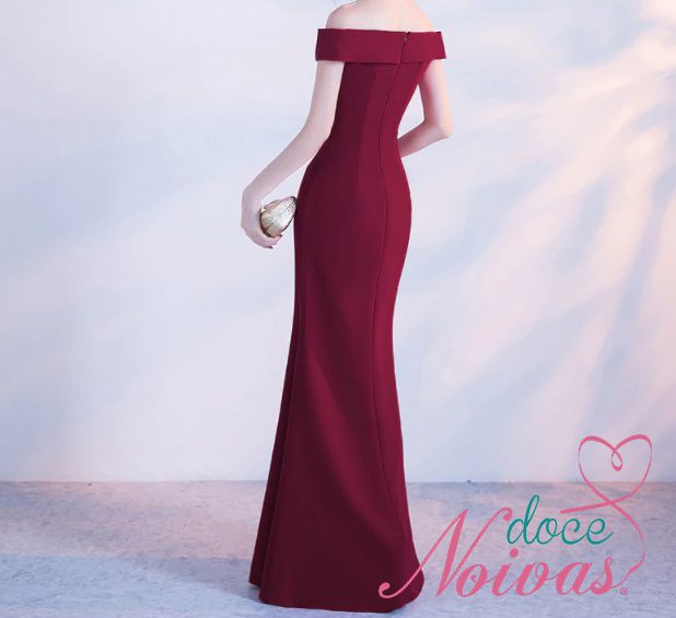 Vestido Longo Fenda Vermelho Marsala