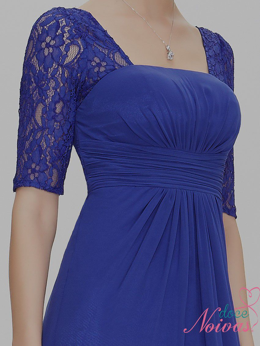 Vestido Longo Manguinha Azul Bic