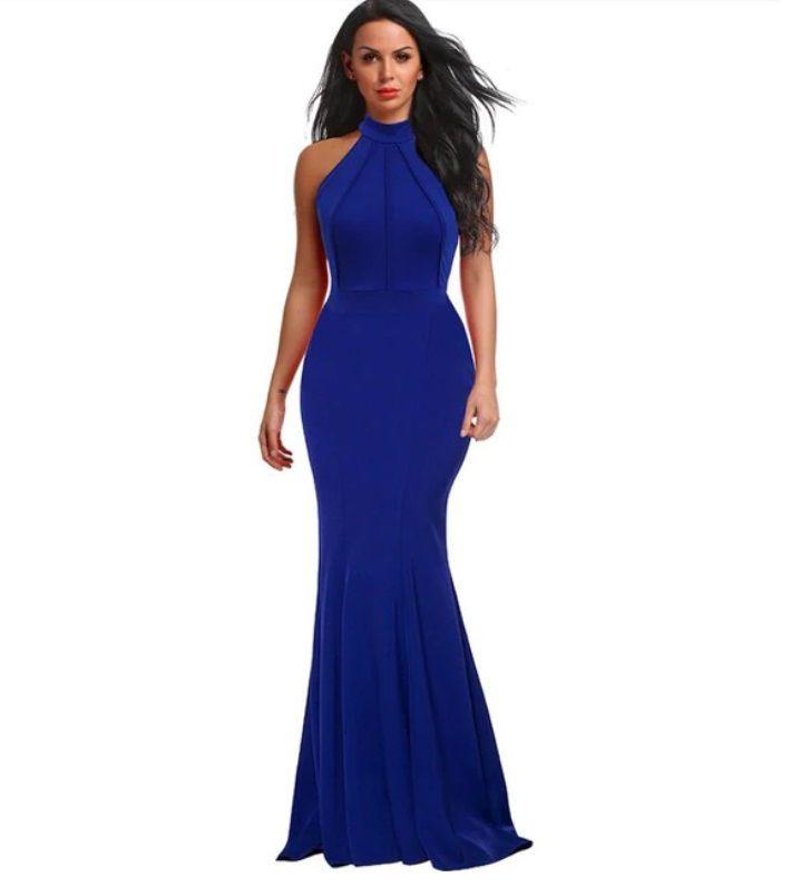 Vestido Longo Marsala e Azul Bic