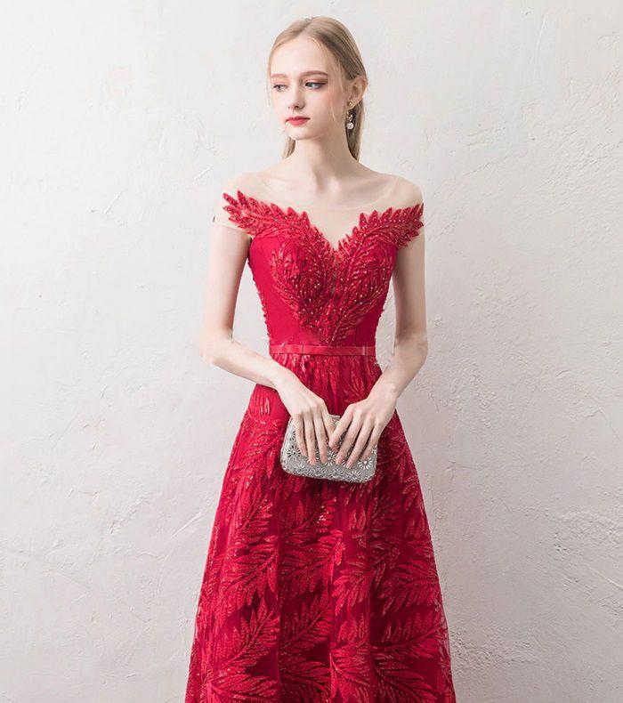 Vestido Longo Ramos Vermelho Escuro