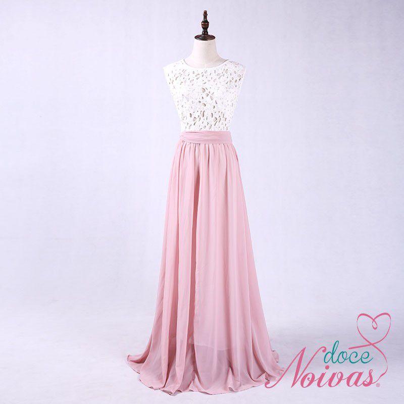 Vestido Longo Rosa Com Branco / Pink Com Branco