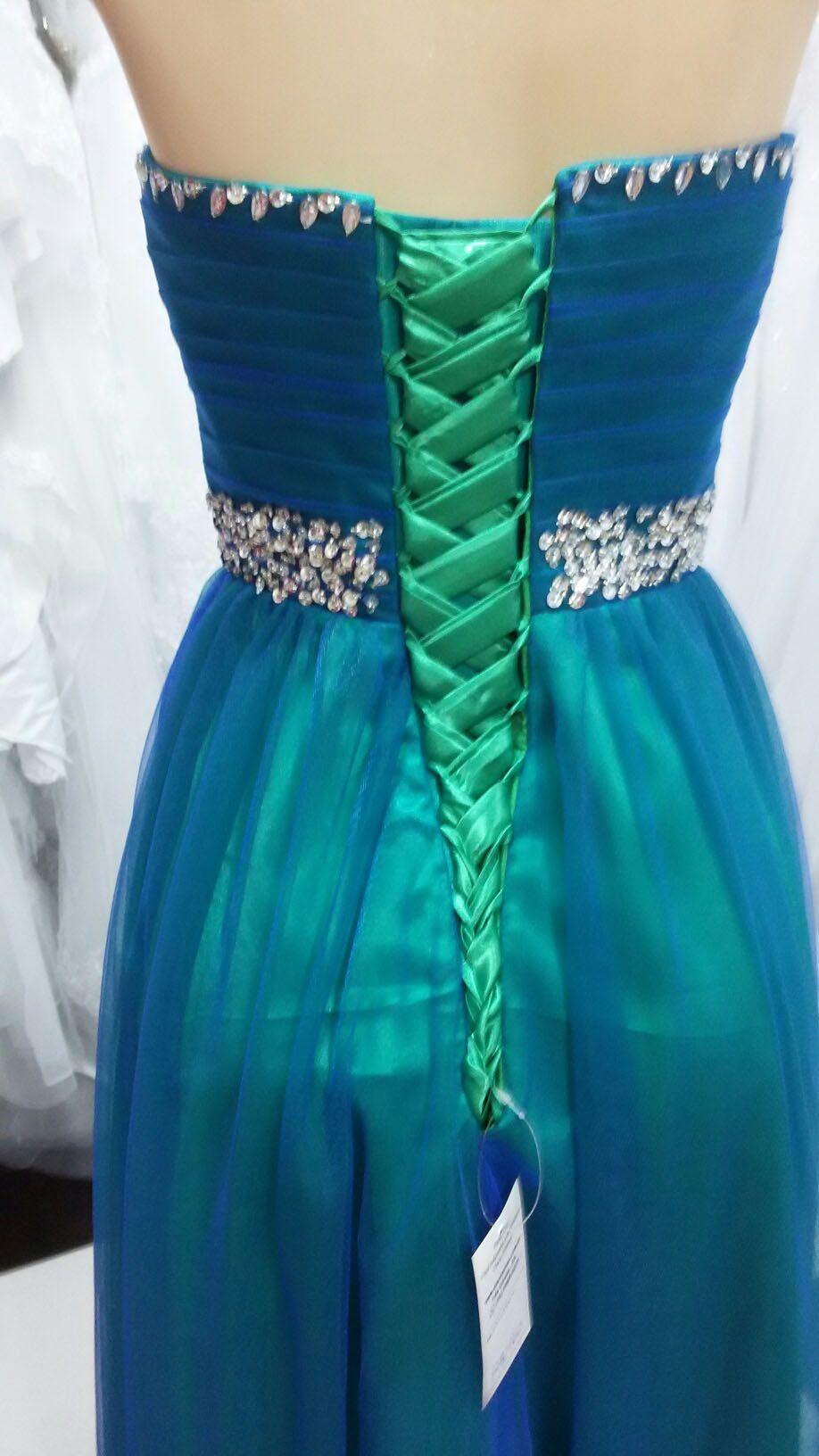 Vestido Longo Verde com Azul