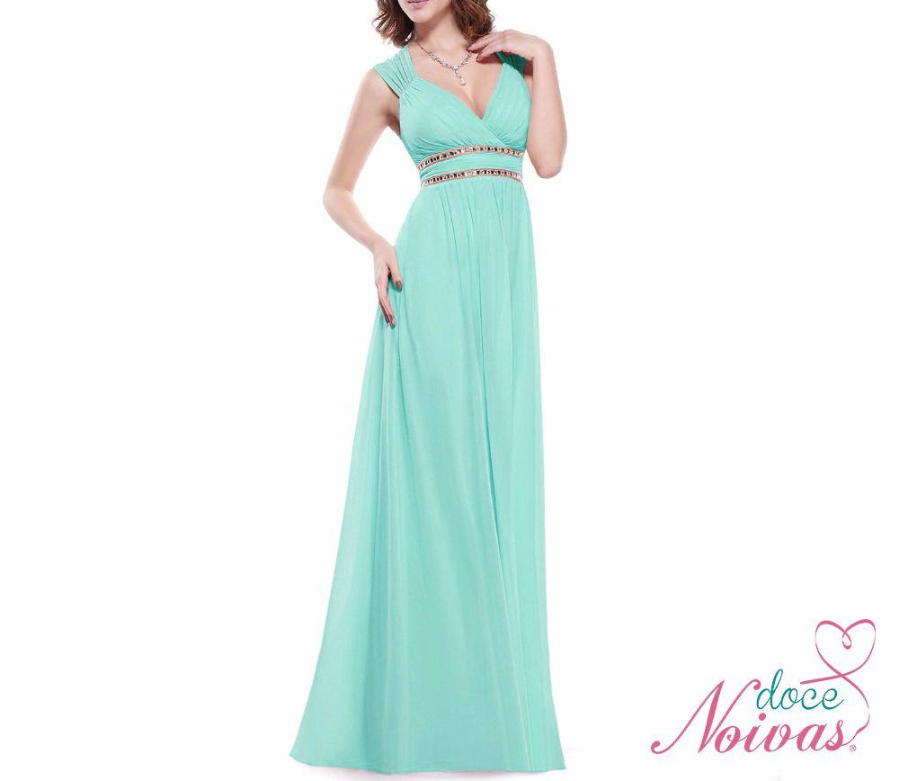 Vestido Longo Verde Escuro e Tiffany