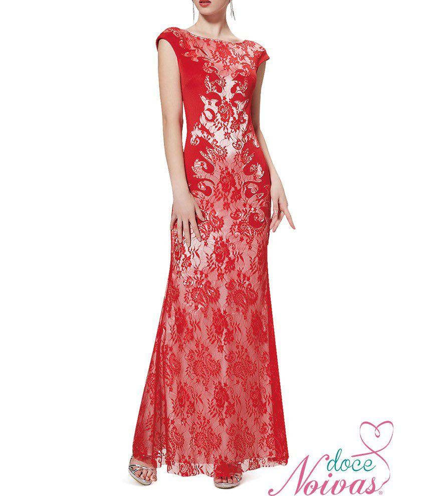 Vestido Longo Vermelho Detalhes Branco