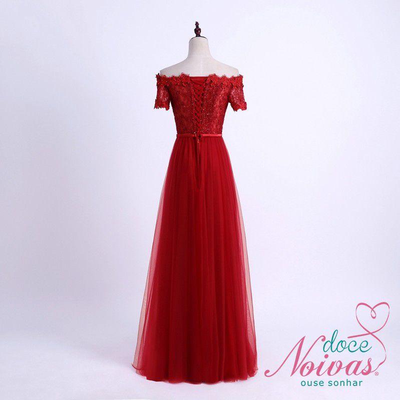 Vestido Longo Vermelho Manga Ombro