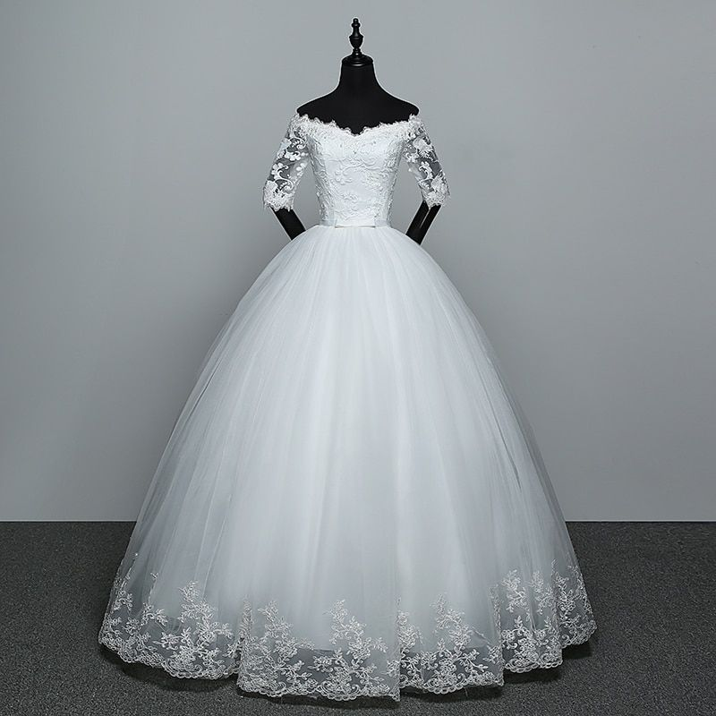 Vestido Maria Manga Caída Ombro Off White