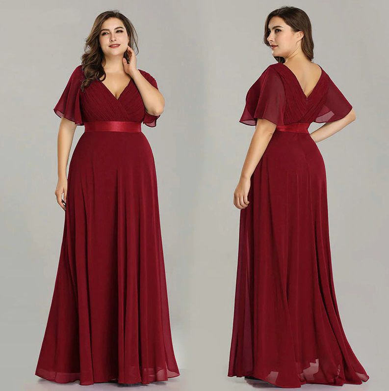 Vestido Marsala Manguinha Plus Size