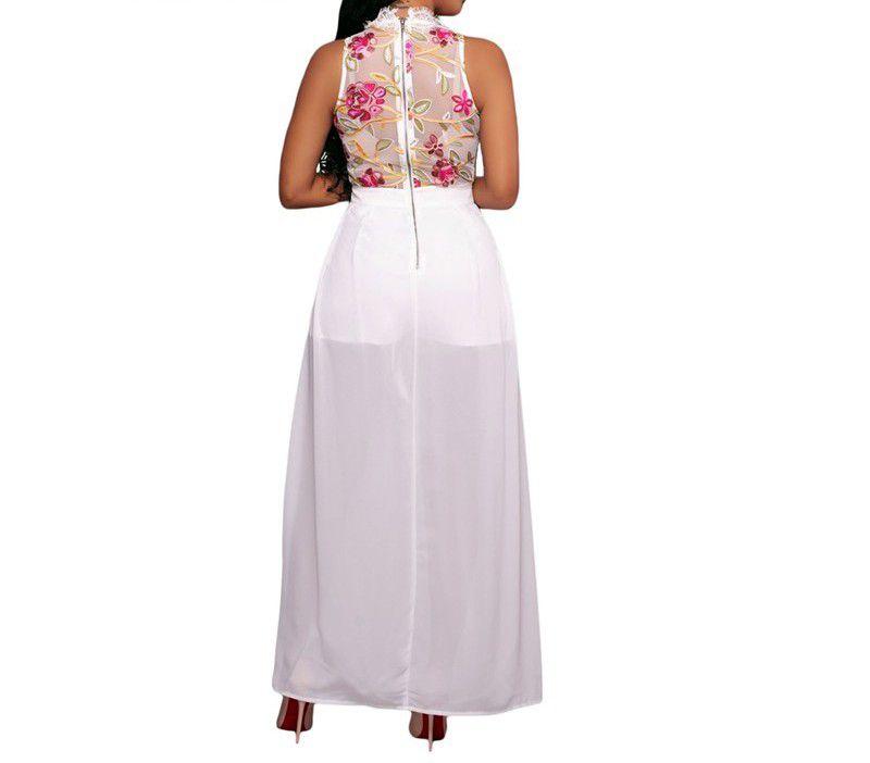 Vestido Mullet Curto na Frente Preto e Off white
