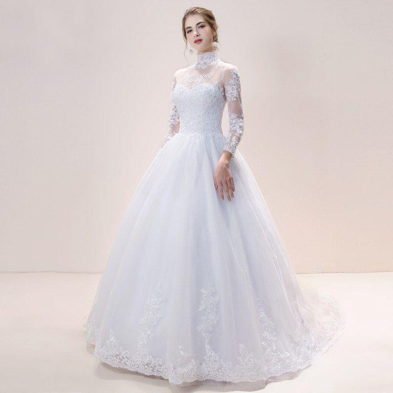 2b7ecb1b8 Vestido Noiva Cristã Fechado Mangas Longas