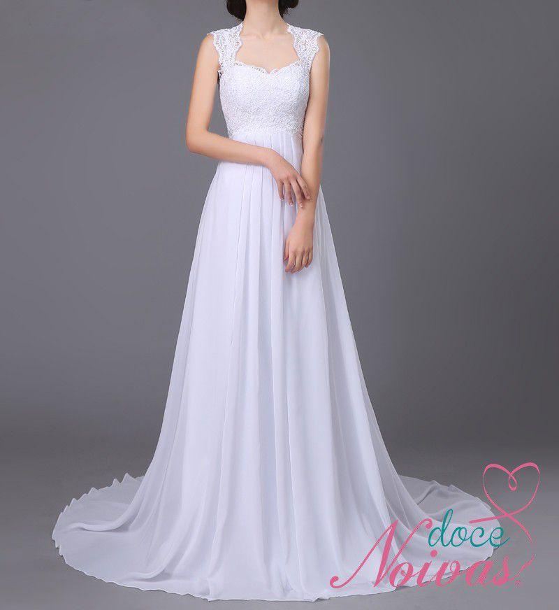 Vestido Noiva Leve Civil Gestante